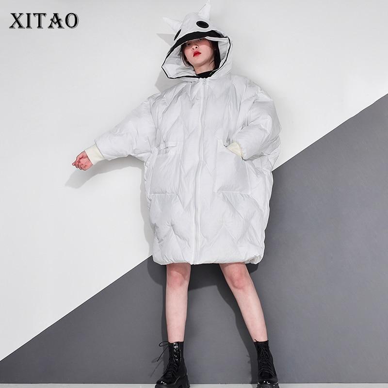 XITAO Women Parkas Fashion New Full Sleeve Goddess Fan 2021 Winter Goddess Fan Casual Style Loose Solid Color Parkas ZY2312