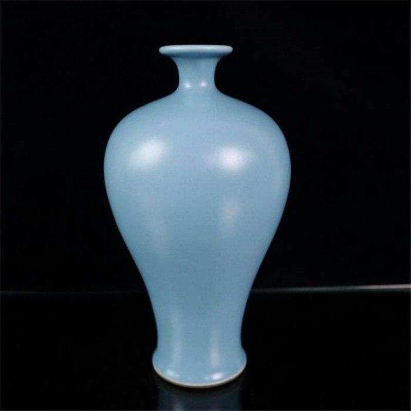 Jarrón de porcelana Jingdezhen cielo azules de ciruelo florero decoración Manual botella Retro casa decoración de la botella de la flor regalo suerte