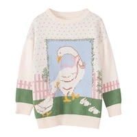 sweet cute bow lady swan o neck pullover sweater 2020 winter