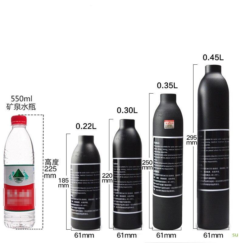 PCP الألوان سلاح الجو HPA اسطوانة الهواء زجاجة 0.2L/0.3L/0.35L/0.45L خزان 300bar 4500psi M18 * 1.5 الموضوع 6061 سبائك الألومنيوم