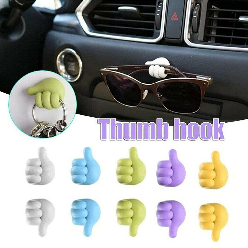 5Pcs Clip Holder Multifunctional Thumb Shape Clip Hooks for Keys Cable Home Car Clip Fixer Organizer Cable Clip