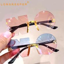 2022 New Gradient Sunglasses Boys Girls Vintage Ocean Water Cut Trimmed Lens Rimless Eyeglasses Chil