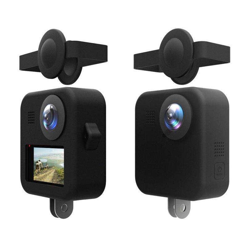 Para GoPro tapa de lente máxima cuerpo de silicona antideslizante anticaída a prueba de polvo funda protectora para Gopro Max panorámica Cámara Accesorios