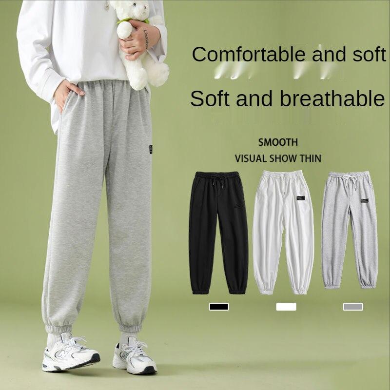 Осенние серые черные белые спортивные брюки, мужские Модные свободные прямые брюки в стиле хип-хоп, мужские брюки