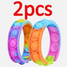 Pulsera de descompresión para niños, juguete sensorial de rompecabezas con burbuja fotosensible, cambio de Color, 2 uds.