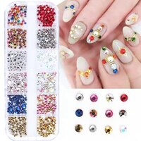12 grids gold silver 3d rhinestones for nails art decorations shiny flatback stones crystal strass manicure accessories