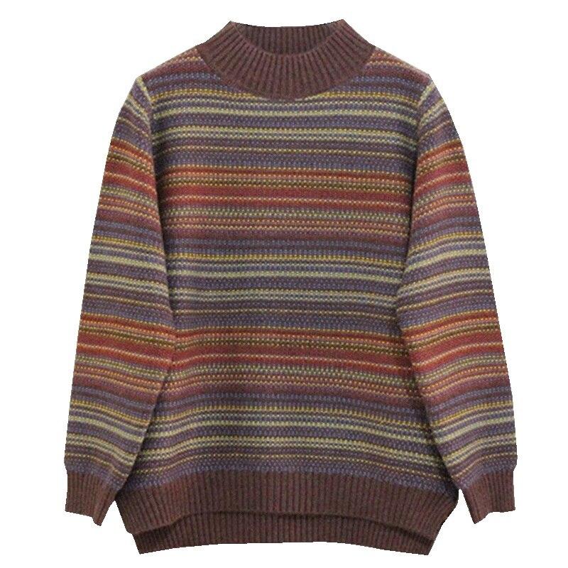 Повседневный свитер, женский свободный свитер в полоску, укороченный винтажный свитер, Милая женская одежда, XX60SW