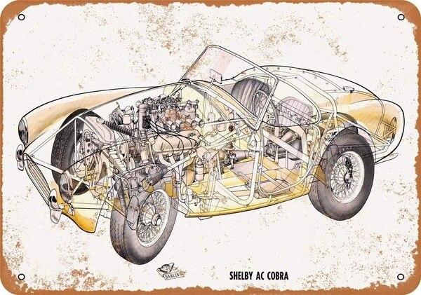 Shelby AC Cobra-cartel de chapa Retro, ornamento nostálgico de metal, decoración artística...