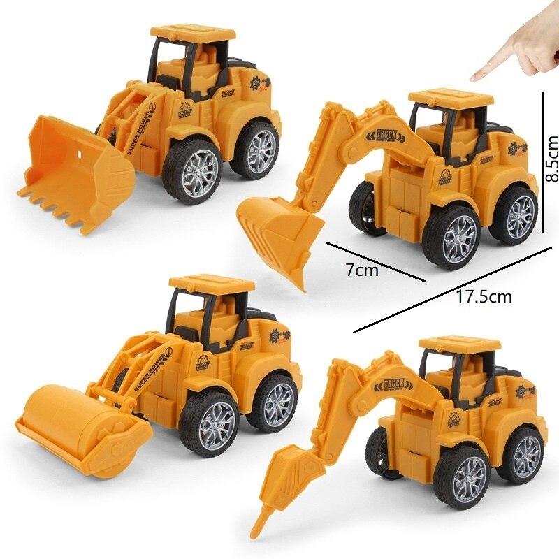 4 вида игрушечных машинок, пластиковый литый под давлением строительный инженерный автомобиль, модель экскаватора, грузовик для детей, заба... сборная модель zvezda советский грузовик 4 5 тонны зис 151 3541 1 35