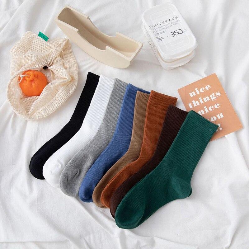 Женские длинные носки в стиле Харадзюку, белые, черные однотонные спортивные модные женские носки, высококачественные хлопковые спортивны...