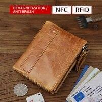 men wallet retro cow genuine leather short wallets multi credit card slot business bifold coin pouch portable buckle purse women