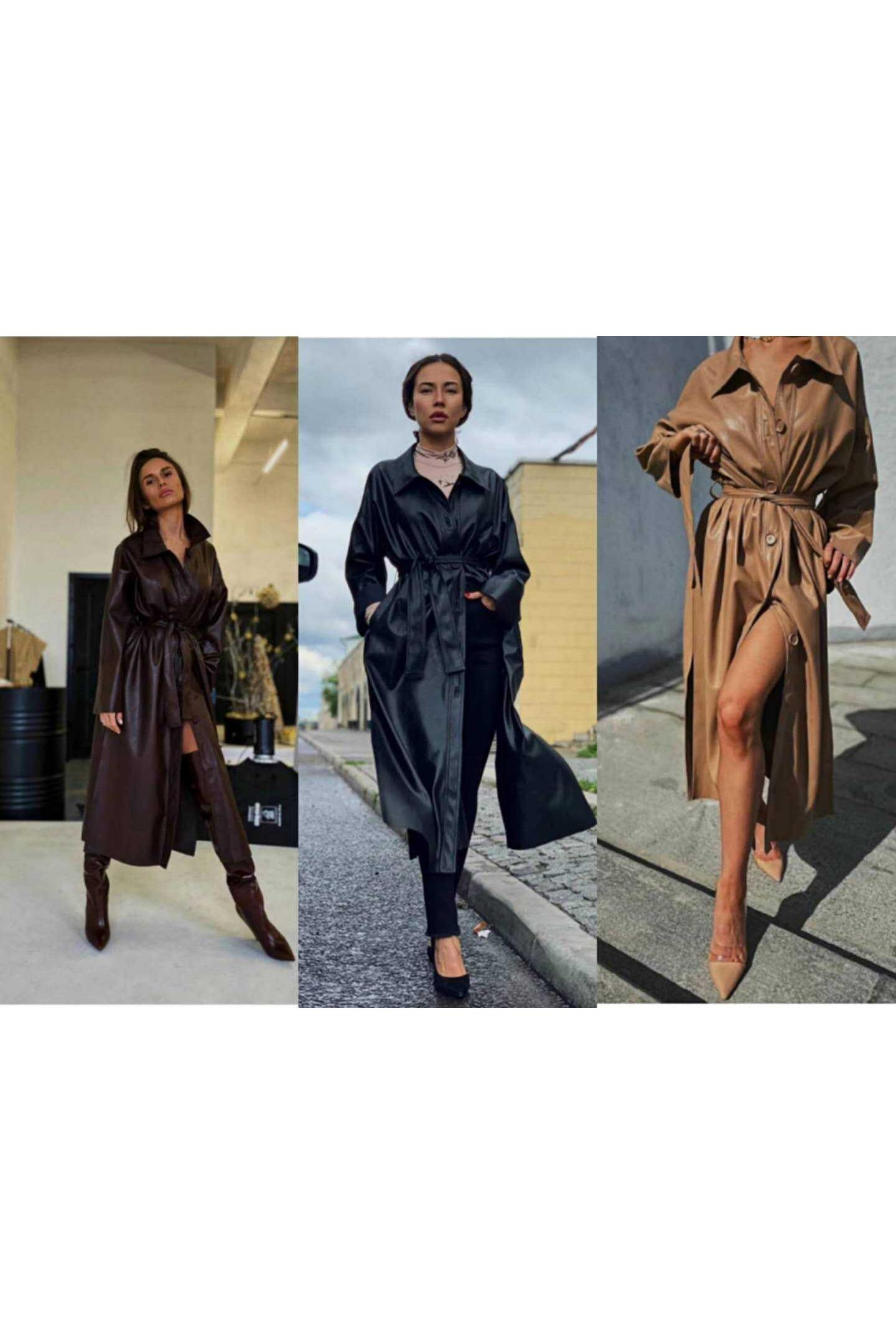 Jacket Single Breasted Sashes Women Real Sale Jaqueta De Couro Feminino 2020 Autumn Women's New Personality Long Coat Loose Pu enlarge