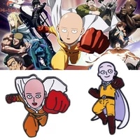anime one punch man brooch saitama teacher enamel badge brooch pin for women man cosplay prop clothing backpack accessories