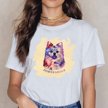 Tops T Shirt Women Cute Pomeranian German Spitz  Kawaii Inscriptions Short Female Shirt