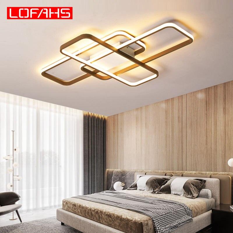 Lámpara led moderna de techo LOFAHS para sala de estar, dormitorio, cuerpo de aluminio, control remoto, lámpara de techo para el hogar, lustre Kattokruunut