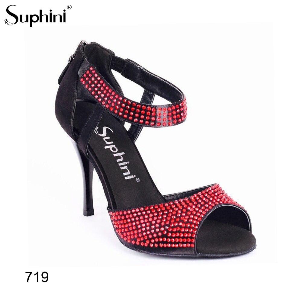 Zapatos de fiesta para mujer, de cristal rojo, con correa de tobillo para Argentina, Salsa latina, Argentina, tacones de Tango, zapatos de Tango
