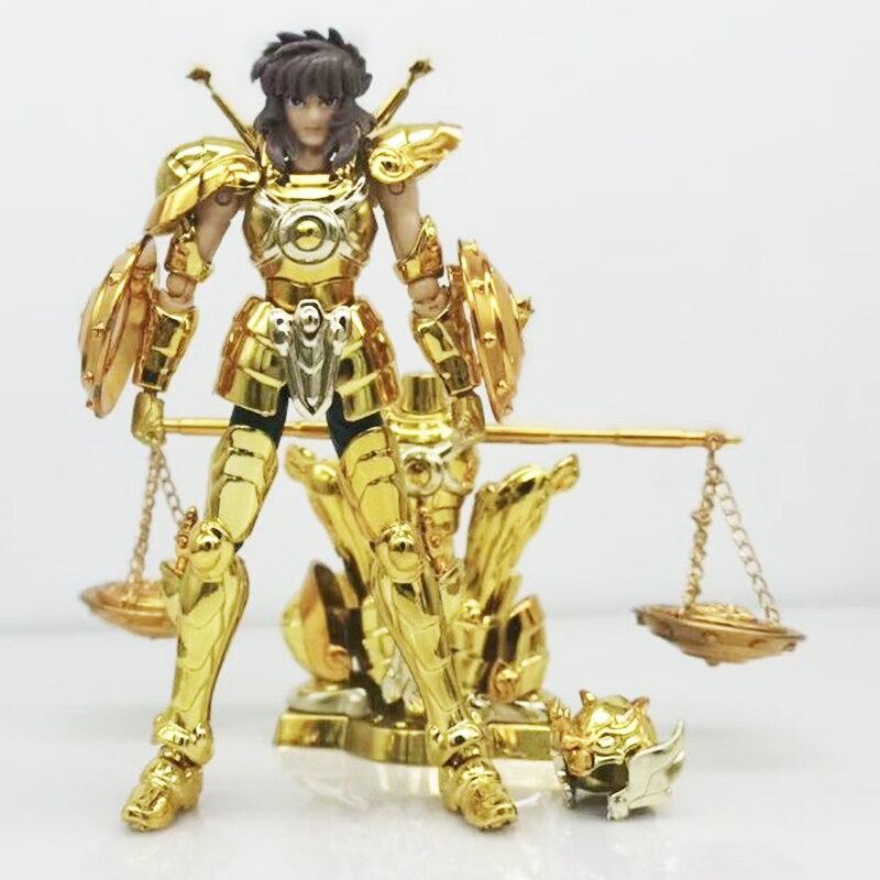 2 unids/set SG modelo Saint Seiya Libra Dohko con forma de objeto armadura de metal dorado Santo PVC MODELO DE figura de acción juguetes DDP tamaño