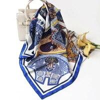 2020 new style women fashion 100 twill silk scarf luxury saddle print shawl hijab hand rolled kerchief stole 9090cm