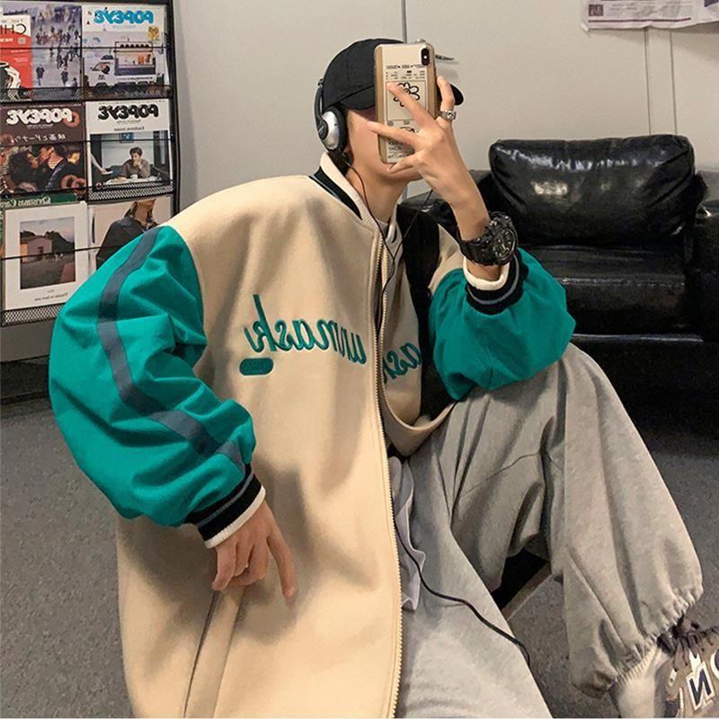 Уличная одежда, мужские Весенние куртки, модная универсальная бейсбольная униформа в Корейском стиле, Мужская контрастная одежда Kpop с выши...