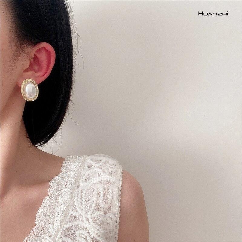 HUANZHI 2020 Новые простые и элегантные овальные ретро жемчужные серьги для женщин девушек вечерние ювелирные изделия подарок