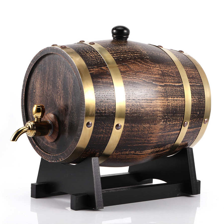 3L Ретро стиль дубовая древесина красное вино бренди бочонок виски бочонок ведро контейнер с краном древесины бочонок Винтаж дуб пивоварени...