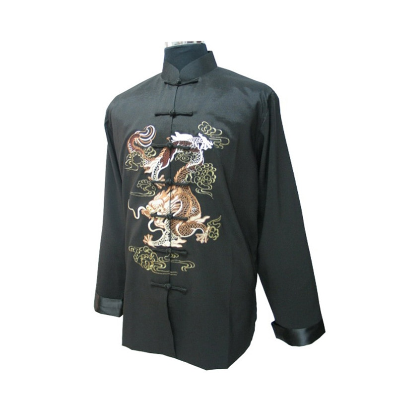 Black Chinese Men's Silk Tang Suit Novelty Kung Fu Jacket Classic Embroidery Costume Kung Fu Shirt Size M L XL XXL XXXL MJ080 недорого