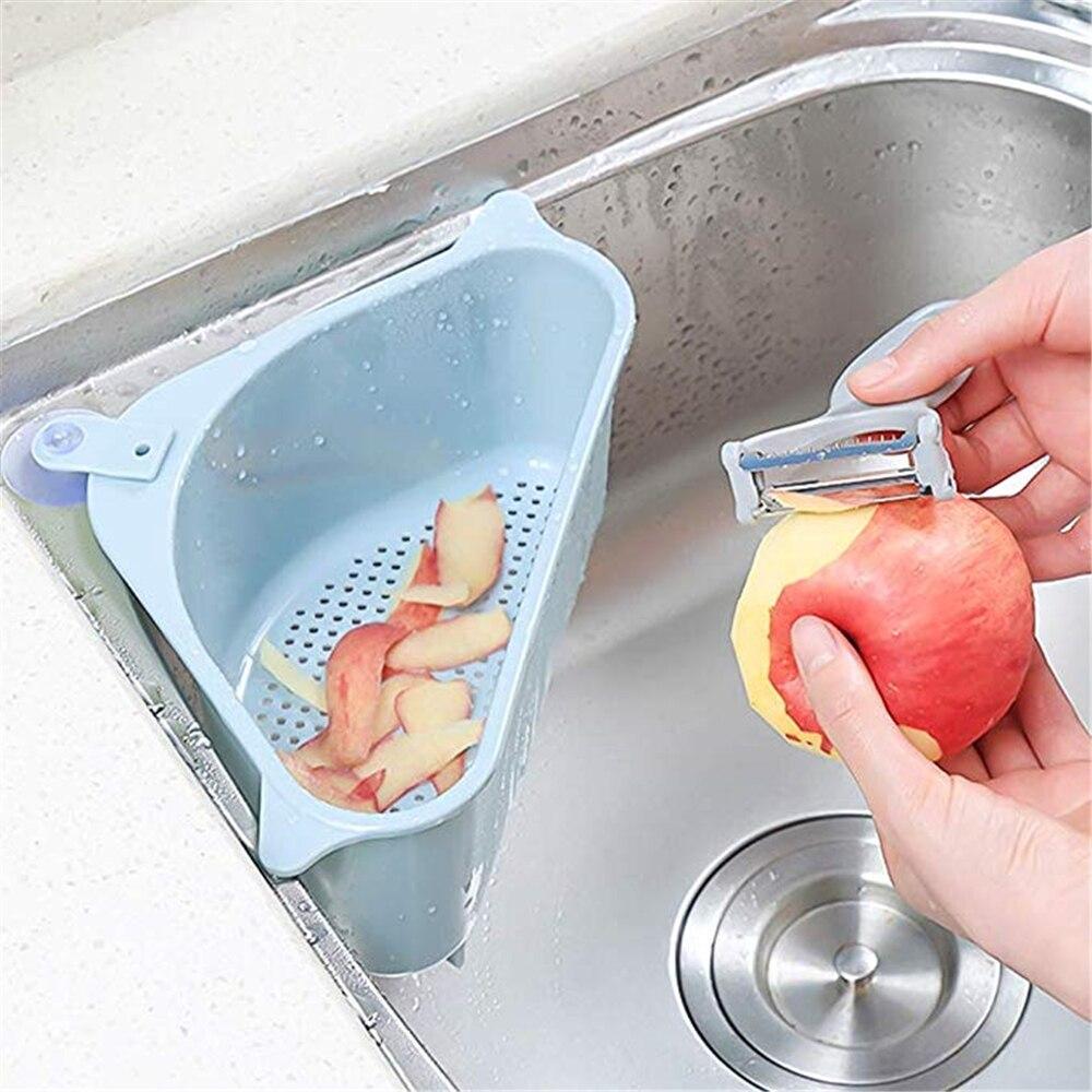 Cocina Triangular ventosa de fregadero escurridor fruta almacenamiento de residuos vegetales rejilla para bolsa de basura Filtro de cocina suministros 3 colores