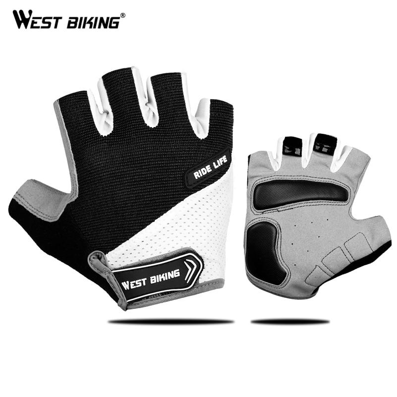 WEST BIKING-guantes de Ciclismo de medio dedo, transpirables para deportes al aire libre, para ciclismo de montaña o de carretera