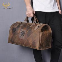Crazy Horse Leather Male Larger Capacity Vintage Design Travel Handbag Duffle Luggage Bag Fashion Tr