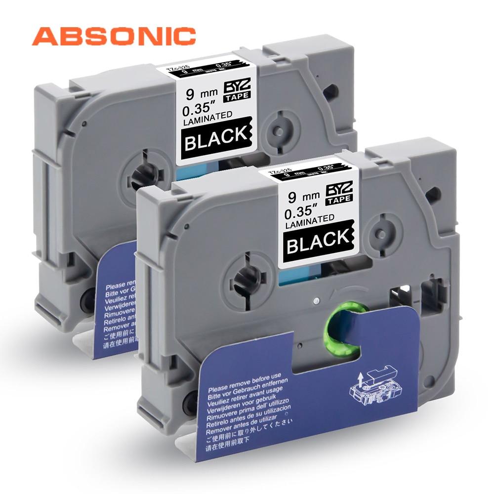 Absonic 2 uds TZe cinta TZe-325 TZ-325, negro sobre blanco, 9mm * 8m para Brother P-Touch cubo PT-D210 PT-H110 PT-D400 PT-D600 etiqueta impresoras