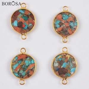 BOROSA Gold Natural Coral Turquoises Necklace Pendant Round Shape Natural Gems Stone Beads Connector Bracelets Jewelry G2008