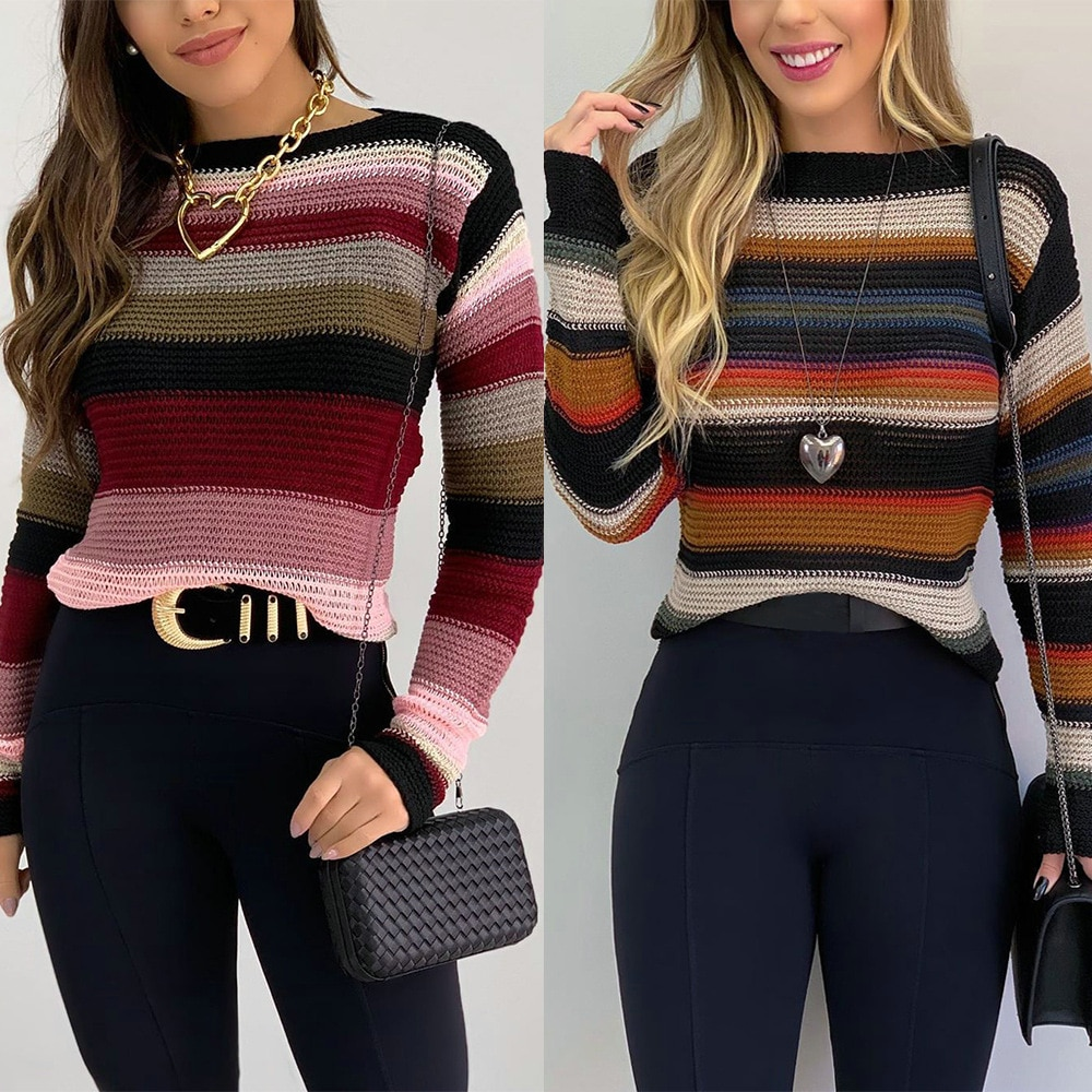 Autumn Winter Sweater Women New Casual Contrast Striped O-Neck Long Sleeve Slim Pullover Knitted Tops Streetwear Ladies Sweater new summer women tees ladies simple pullover tops korean solid o neck casual slim knitted short sleeve top