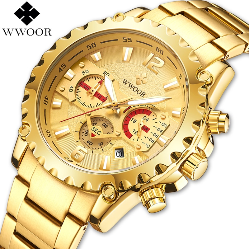 WWOOR Brand Men Watches Chronograph Analog Quartz Watch Luminous Date Waterproof Gold Stainless Steel Male Wrist 2020
