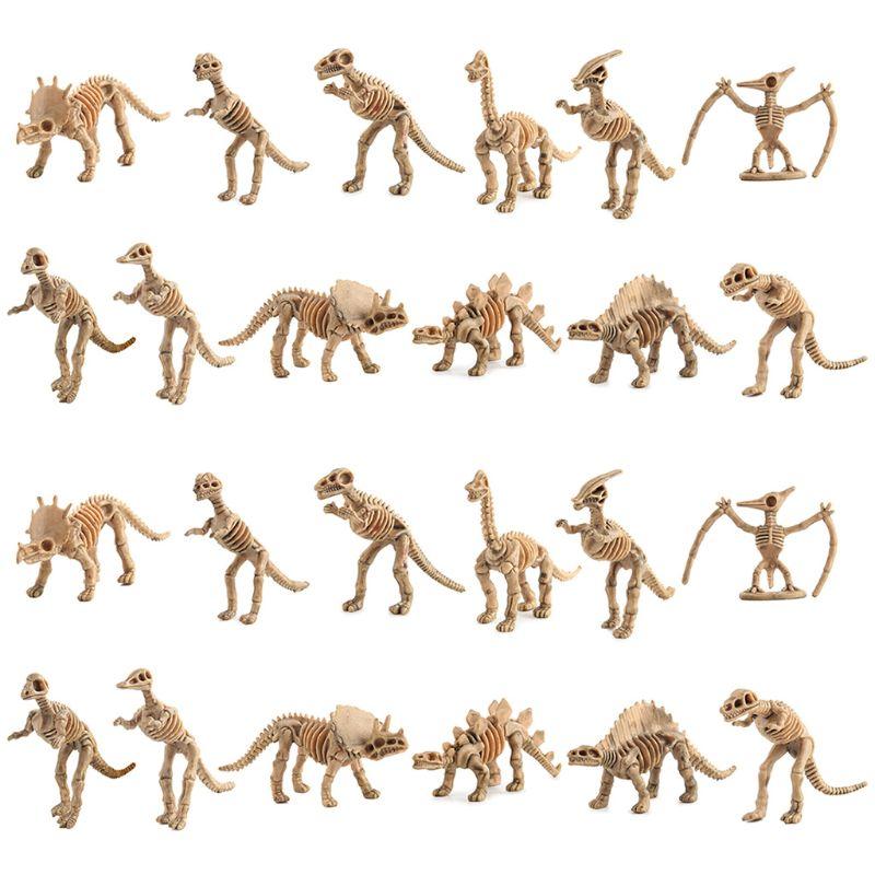 Esqueletos de petrifacción de dinosaurio 24 uds, figuras surtidas, huesos de dinosaurio, DXAD educativo
