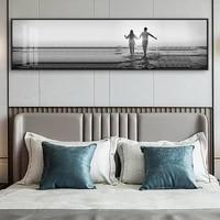 Toile dart mural nordique moderne  noir et blanc  paysage de mer  Couple doux  peinture  affiche  image imprimee pour pepiniere  salon  decor de maison