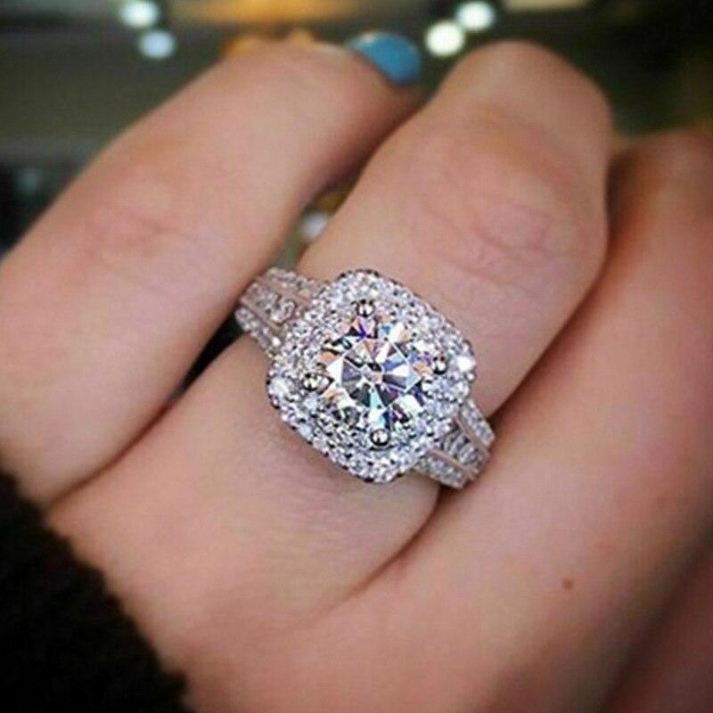 Anillo de piedra de circón cuadrado Luxruy para mujer, regalo de boda para mujer, anillos de compromiso brillantes con diamantes de imitación