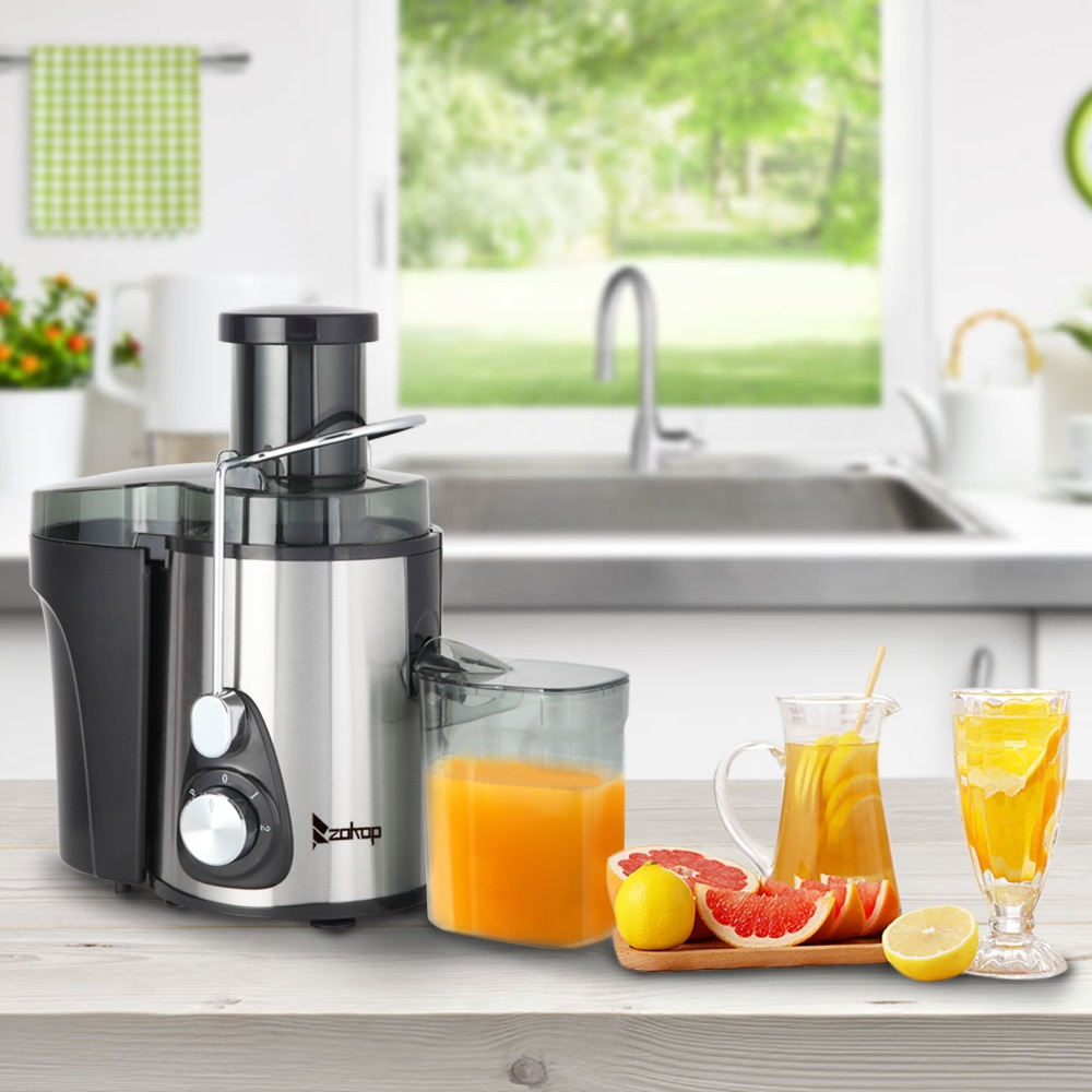 American Standard J02 110V 600W 75MM Large Caliber 600ML Juice Cup 1000ML Slag Cup Double Gear Electric Juicer Stainless Steel