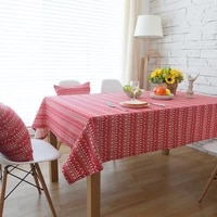 red fawn christmas tree tablecloth cotton linen rectangular table cover cloth table decoration dining room for home and kitchen