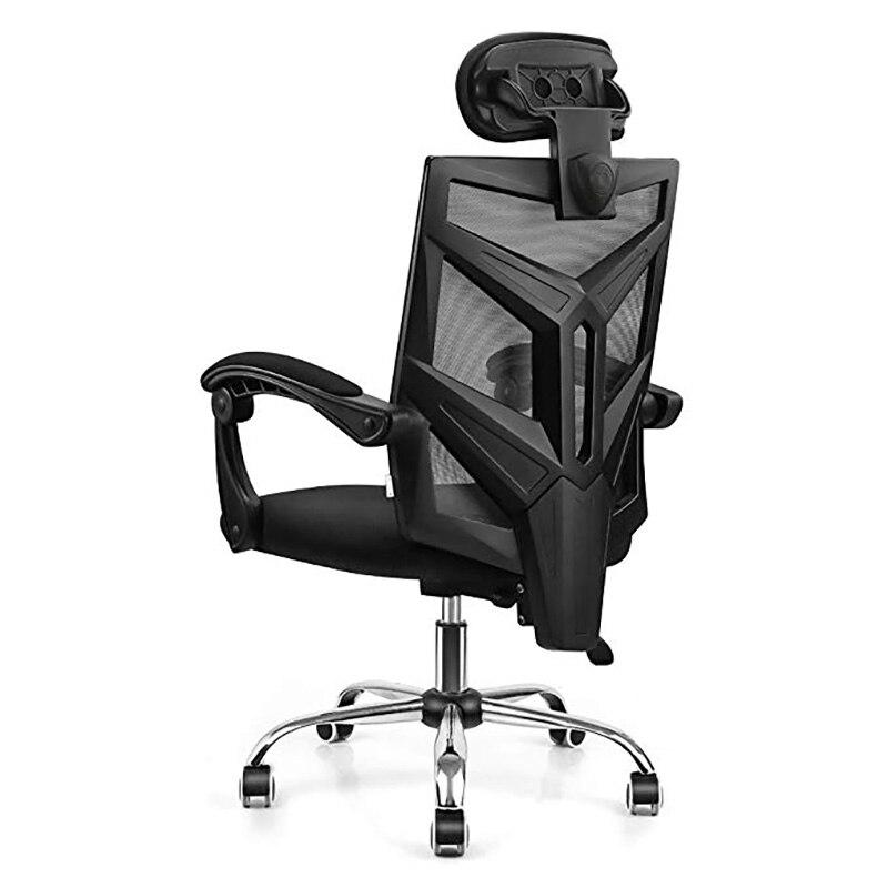 كرسي شبكي مريح للكمبيوتر والمكتب والمنزل ، ظهر مرتفع مع وسادة سميكة ، مبطن ، قابل للتعديل ومسند للذراعين