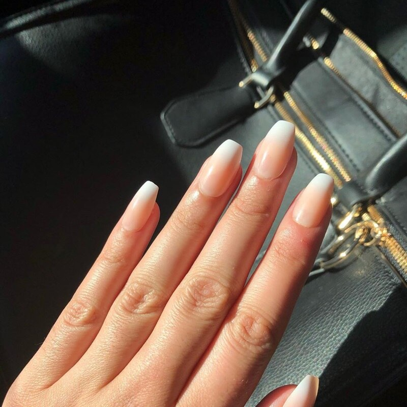 AliExpress - Ombre French Coffin Press On Nails Short Clear Nude Detachable Fake Nails With Glue Sticker Reusable Nail Art Tips Extension