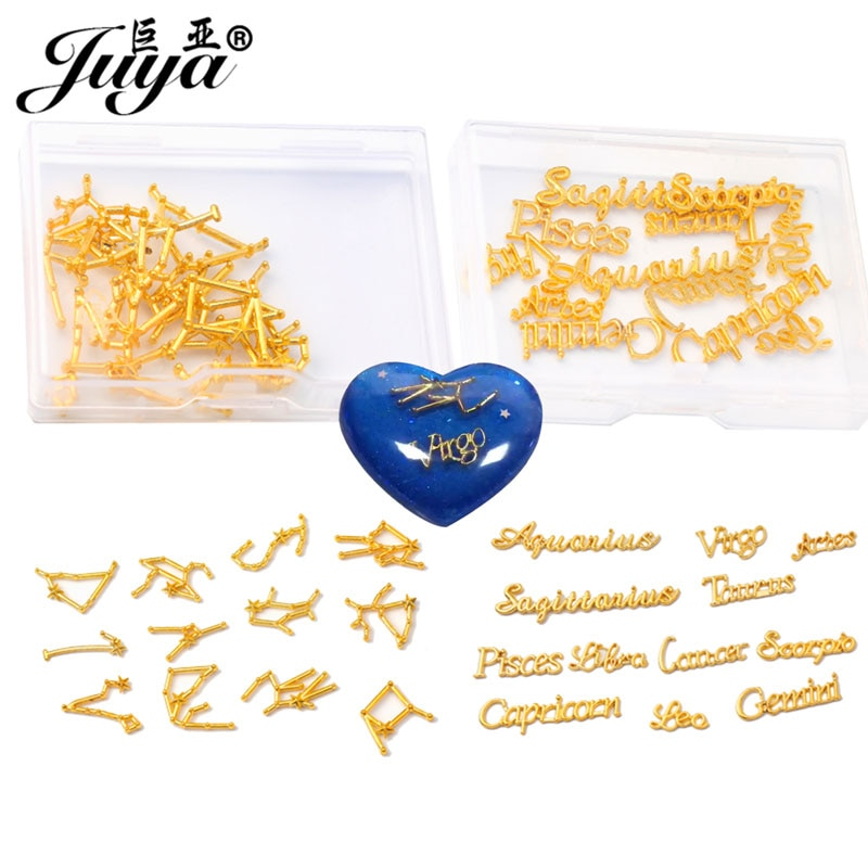 24PCS 12 Constellation Zodiac Letters Connectors Charms For Jewelry Making Supplies Diy Anklet Bracelet Resin Crafts Accessories