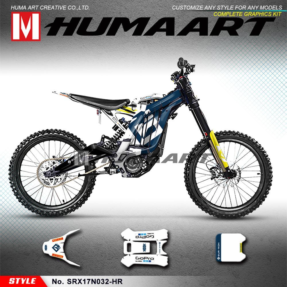 HUMAART الفينيل الشارات مخصص ملصقات عدة ل سور-رون ضوء النحل X S الكهربائية الدراجة ، الأزرق الأبيض (نمط لا. SRX17N032-HR)