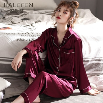 Pajamas Women's Spring and Summer Ice Silk Long Sleeve Home Wear Spring and Autumn Thin Artificial Silk Red Birth Year
