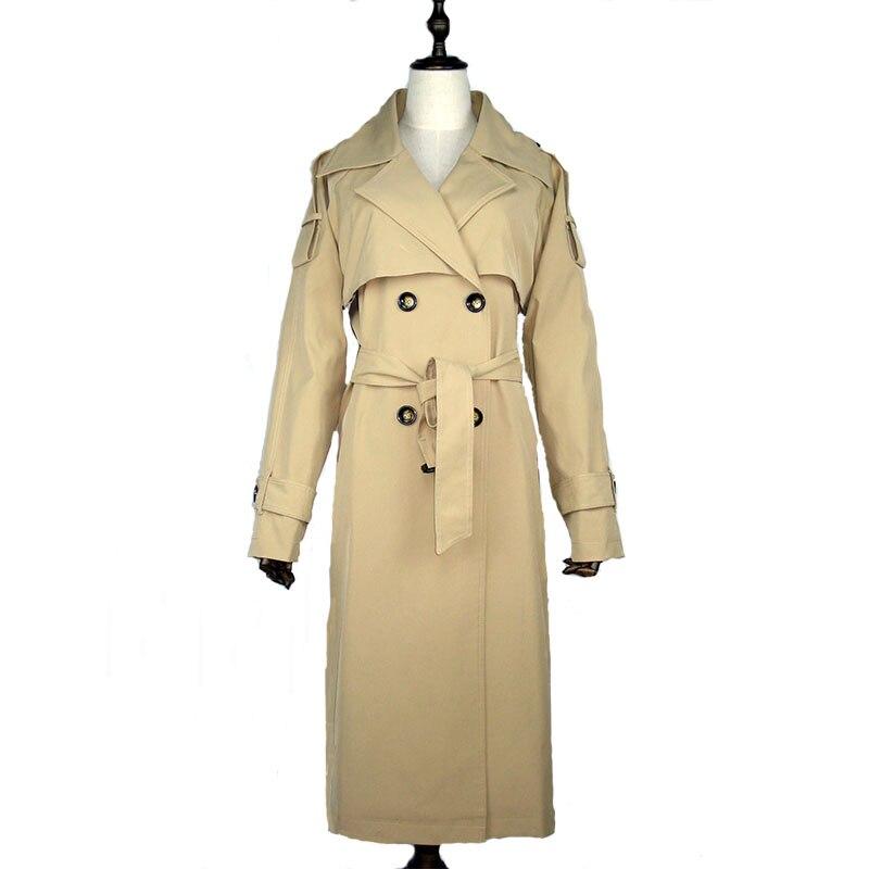 Women long trench coat Double breasted lapel Black red Khaki big size womens windbreakers