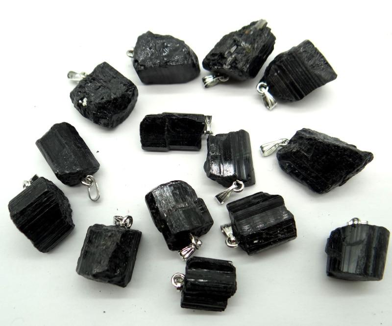 يمكن استخدام قلادة التورمالين الأسود من الحجر الطبيعي لصنع المجوهرات ، 50 قطعة ، بالجملة