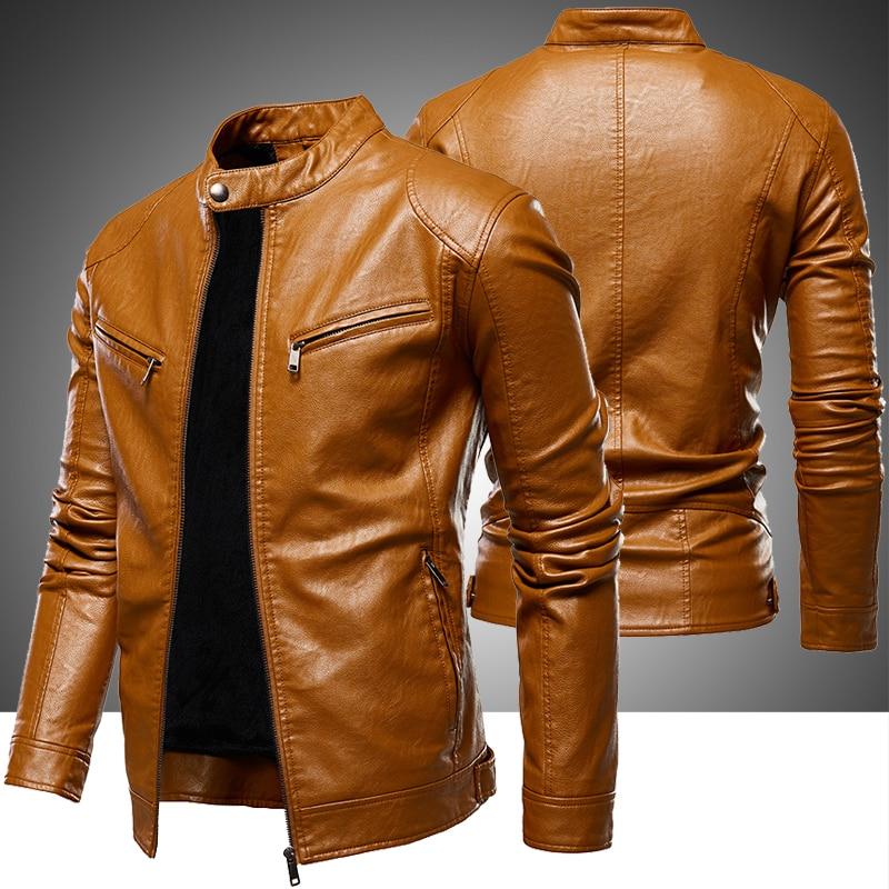 Men's Fleece Biker Leather Jackets 2020 New Men Simple Style Stand Collar Jacket Coats Male Faux Leather Bomber Outwear Coat Man