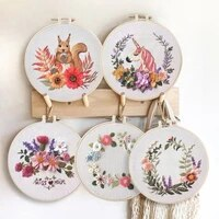 flower embroidery kit handmade embroidery full kit diy cross stitch set for beginner hanging painting decor starter kit with