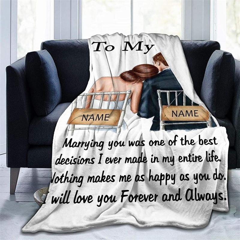 إلى زوجتي لينة أفخم هدية الفانيلا صوف ليف دقيق المفرش شيربا 3d-print بطانية الأريكة غرفة نوم ديكور