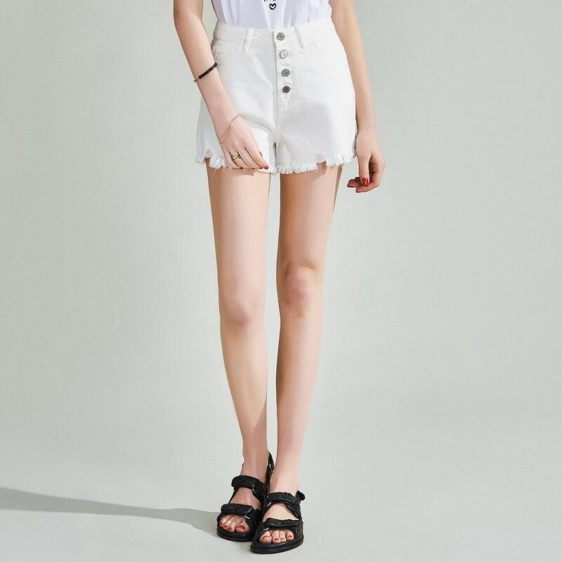 Havva 2020 verão nova alta contagem algodão denim rebarbas breasted denim calções de perna larga k49290
