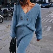 BerryGo Sexy col en v femmes tricoté jupe costumes automne hiver à manches longues deux pièces robe élégante fête femme pull robe bleu